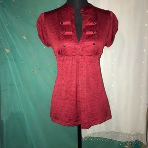 Red Asian inspired stylish top Woman L